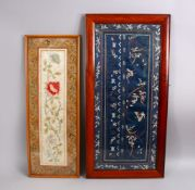TWO CHINESE EMBROIDERED SILK FRAMED PICTURES, the larger depicting floral decoration with