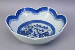 AN 18TH CENTURY CHINESE BLUE AND WHITE PORCELAIN LOBED EDGE BOWL, the bowl decorated with landscapes