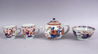 MIXED LOT OF 18TH / 19TH CENTURY CHINESE IMARI PORCELAIN, comprising one teapot, 11cm x 18cm wide.