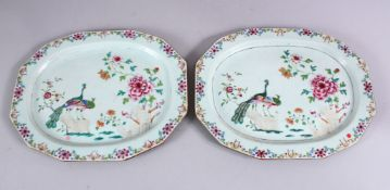 A PAIR OF 18TH CENTURY CHINESE FAMILLE ROSE PORCELAIN SERVING DISHES, each decorated with scenes