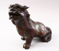 A 19TH CENTURY CHINESE BRONZE & CLOISONNE MODEL OF A LION DOG, the dog in a seated position