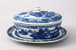 A GOOD 18TH CENTURY CHINESE QIANLONG BLUE & WHITE PORCELAIN BUTTER DISH & COVER & STAND, The body of