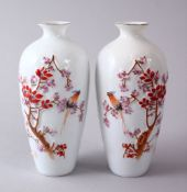 A PAIR OF CHINESE REPUBLIC STYLE EGG SHELL PORCELAIN FAMILLE ROSE VASES, with raised and decorated