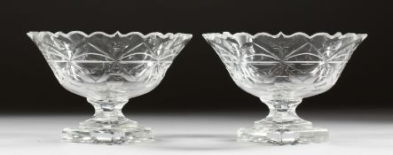 A GOOD PAIR OF CUT GLASS SWEETMEAT DISHES on triangular bases.