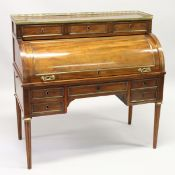 A GOOD 19TH CENTURY FRENCH EMPIRE MAHOGANY INLAID CYLINDER DESK, with galleried top, three small