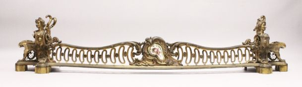 A VERY GOOD LOUIS XVITH ORMOLU SERPENTINE FRONTED FENDER with pierced front and female heads. 5ft
