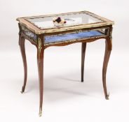 A VERY GOOD 19TH CENTURY FRENCH LOUIS XVTH STYLE KINGWOOD RECTANGULAR BIJOUTERIE TABLE with ormolu
