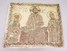 A LARGE RUSSIAN MOSAIC STONEWARE PANEL with three figures. 3ft x 3ft 6ins.