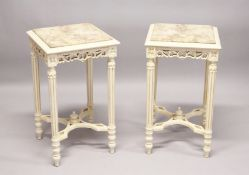 A PAIR OF FRENCH STYLE CARVED AND PAINTED WOOD LAMP TABLES, with square marble tops. 2ft 4ins high x
