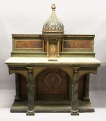 A LARGE RUSSIAN PAINTED WOODEN ALTAR with four column supports, domed top over a small cupboard with
