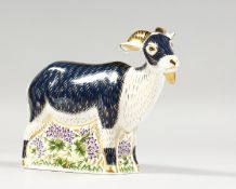 A ROYAL CROWN DERBY BILLY GOAT PAPERWEIGHT, gold stopper, original box and certificate made