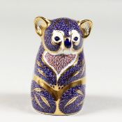 A ROYAL CROWN DERBY PAPERWEIGHT KOALA, gold stopper and box.