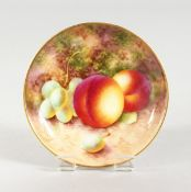 A ROYAL WORCESTER SMALL DISH painted with fruit by Robert. signed. date code 1937.
