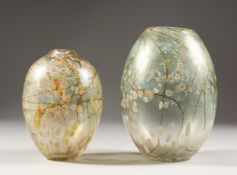 CARIN VON DREHLE, TWO BULBOUS VASES painted with flowers. Signed and dated 1962. 6.5ins and 5.5ins