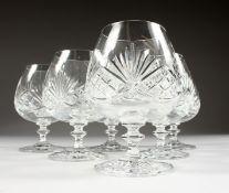 SIX CUT CRYSTAL BALLOON BRANDY GLASSES.