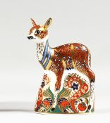 A ROYAL CROWN DERBY COLLECTOR'S GUILD FAWN PAPERWEIGHT, boxed, gold stopper.