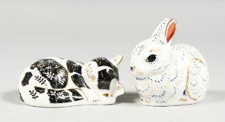 ROYAL CROWN DERBY PAPERWEIGHTS, BUNNY AND MISTY, exclusive to the Collector's Club, gold stopper and