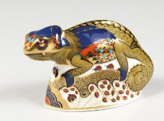 A ROYAL CROWEN DERBY CHAMELEON LIZARD PAPERWEIGHT, gold stopper and box.