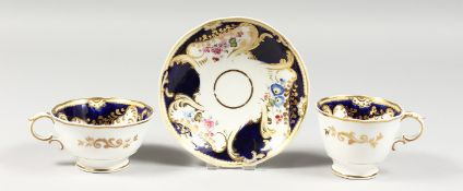 A WORCESTER GRAINGERS LEE AND CO. TRIO painted with flowers.