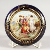 A VICTORIAN BLUE CIRCULAR POWDER BOWL AND COVER, the lid with classical figures. 5ins diameter.