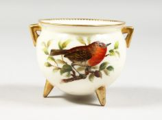A ROYAL WORCESTER CAULDRON on three conical feet painted with a bird by Hopewell, blue mark, 1880'