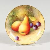 A ROYAL WORCESTER SMALL DISH painted with fruit by Shuck, signed. date code 1935.
