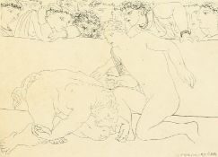 """After Picasso, a print of a bullfighting scene, 8"""" x 10.5""""."""