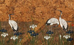"""20th century Asian school, storks in a landscape, mixed media, unframed, 17"""" x 27.5"""", together"""