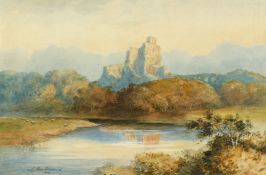 J MacDiarmid (19th/20th century) A view of castle ruins on a hilltop with a river and sheep,