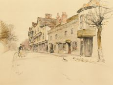 After Cecil Aldin (1870-1935), 'The Kings Head, Chigwell', A street view of the Kings Head pub,