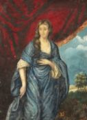 """19th century, A portrait of a Lady draped in blue, watercolour, unframed, 13.5"""" x 9.5""""."""