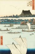 Hiroshige (1797-1858) Japanese, Hongwan Temple with fishing scene in the foreground, woodblock,