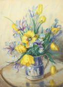 Marion Broom (1878-1962) British, A still life of mixed flowers in a classical style blue jug,