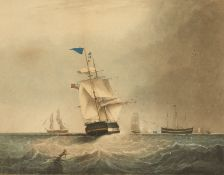 A marine scene, 'Homeward Bound, Passing the Light-Ship Liverpool', a scene of a ship returning to