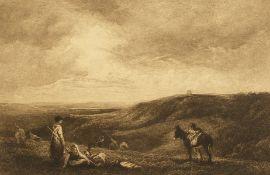 Edgar Barclay (1842-1913) British, 'The Cloverfield', an arable farming scene with figures and a