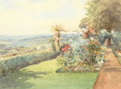 Arthur Mayrick (early 20th century) British, A garden scene with flowers and hedging along a path,