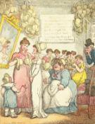 After Thomas Rowlandson (1756-1827) British, ' A Bonnet Shop', hand coloured etching, unframed,