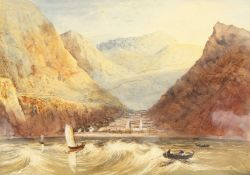 A coastal town surrounded by mountains, with sailing scene in the foreground, watercolour, unframed,