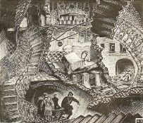 Russian school, surrealist composition of figures leaving a tunnel, wood engraving, indistinctly