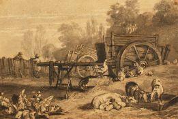 """W.H. Pyne (1769-1843) British, """"Farmyard"""", a rustic farm scene, ink & wash, unframed, 7"""" x 10""""."""