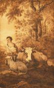 "Style of Hills, A livestock scene, watercolour, unframed, 7"" x 4.5""."