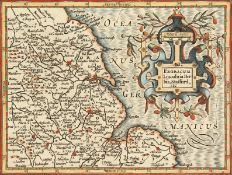 """17th century, A hand coloured map of the East of England, 5"""" x 6.5"""". unframed."""