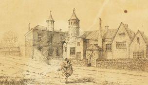 """Wenceslaus Hollar (1607-1677) Bohemia/British, 'Brook House', an old master engraving, 8"""" x 12""""."""