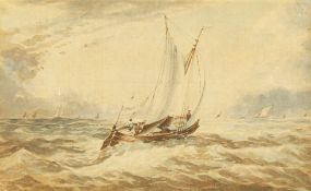 """19th century school, a sailboat in choppy seas, watercolour, 3.5"""" x 5.5""""."""