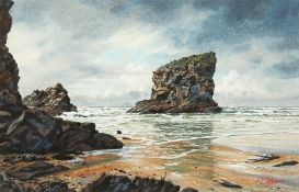 Steven Thor Johanneson, American school, A coastal scene with rock formations, watercolour, signed