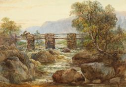 William Appleton (19th century) British, A pair of welsh mountain river scenes, watercolour,