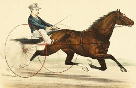 """'St Julian'. A scene of a racing horse and carriage, a print, published by Currier and Ives, 11""""x"""
