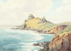 W. Evans Linton (1878-1956) British, A costal scene with waves crashing on the rocks, watercolour,