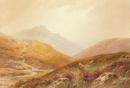 Charles Hannaford (1863-1955) British, Sheep on a hillside with a distant rocky tor, watercolour,