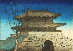 Circle of Elizabeth Keith, 'To Dai Mon (East Gate) South Korea' colour woodblock, artist seal,